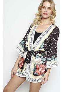 Kimono Poá Com Faixa- Preto & Amarelo Clarocharry
