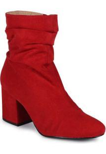 Ankle Boots Feminina Lara Suede Vermelho