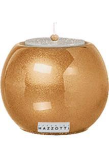 Castiçal P De Cerâmica 10Cm Dourado Mazzotti