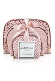 Necessaire Bolsinha 3 Peças Diamantes Jacki Design Rosa Gold