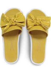 aabdad2dc2 ... Chinelo Slide Vizzano Verniz Glam Laço Feminino - Feminino-Amarelo