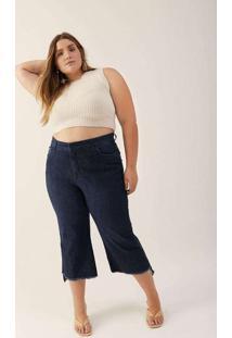 Calça Almaria Plus Size Izzat Jeans Pantacourt Azu