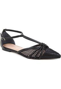 Sapatilha Couro Shoestock Salomé Tela Feminina - Feminino-Preto