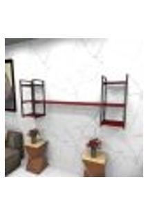 Estante Estilo Industrial Sala Aço Cor Preto 180X30X68Cm Cxlxa Cor Mdf Vermelho Modelo Ind26Vrsl
