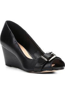 Peep Toe Couro Shoestock Anabela Fivela - Feminino-Preto