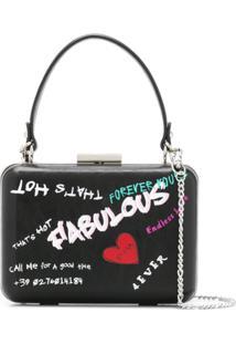 Pinko Graffiti Style Clutch Bag - Preto