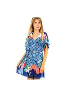 Vestido Chemise 101 Resort Wear Estampado Azul