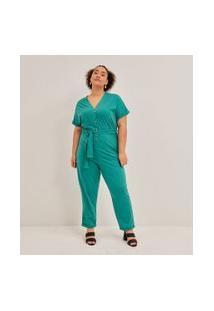 Macacão Longo Sem Estampa Com Botões Curve & Plus Size | Ashua Curve E Plus Size | Verde | G