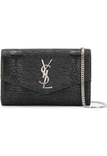 Saint Laurent Clutch Envelope Monogramada - Preto