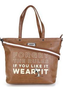 Bolsa Snoopy Shopper Bag Média Feminina - Feminino-Marrom