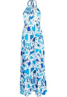 Love Moschino Vestido Frente Única Com Estampa - Azul