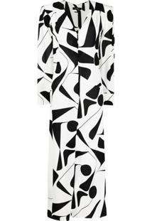 Isabel Marant Vestido De Seda Com Estampa Abstrata - Branco