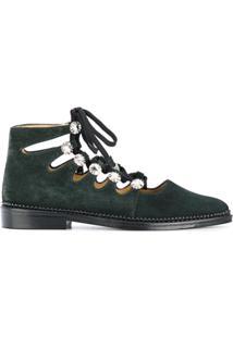 3ba7cbae0c Farfetch. Sapato Feminino Couro Camurça 2015 Tom Escuro Pulla E Cadarço De  - Green Com Toga
