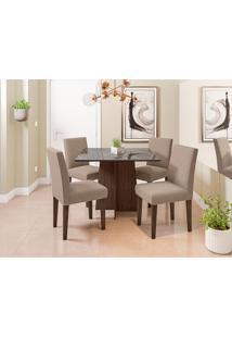 Conjunto De Mesa De Jantar Com Tampo De Vidro Marina E 4 Cadeiras Giovana Veludo Linho Nero E Preto