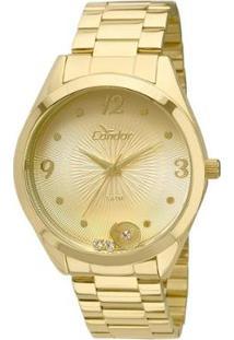 Relógio Condor Feminino Illusion - Feminino-Dourado+Branco