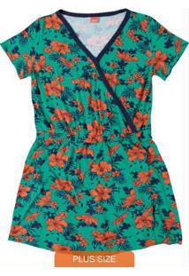Macaquinho Verde Floral Transpassado Wee!