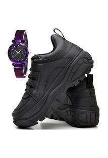 Tênis Sapatênis Plataforma Fashion Com Relógio Luxury Feminino Dubuy 731El Preto