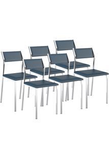 Cadeira 1709 Cromada 06 Unidades Napa/Azul Noturno Carraro