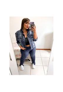 Jaqueta Jeans Plus Size Pérolas