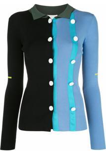 I-Am-Chen Cardigan Color Block Com Botões - Azul