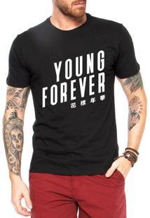 Camiseta Criativa Urbana Kpop Young Forever - Masculino-Preto