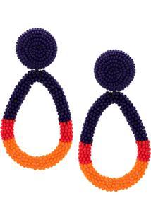 A.Brand Par De Brincos Tricolor Miçangas - Azul/Vermelho/Laranja