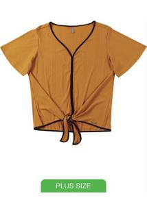 Blusa Decote V Com Amarração Amarelo