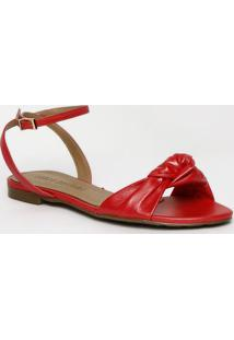 Sandália Rasteira Com Torção - Vermelha - Lança Perflança Perfume
