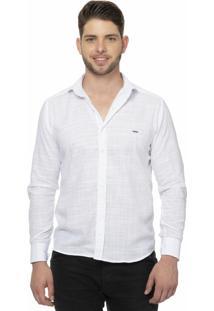 Camisa Slim Fit Alfaiataria Burguesia 100% Em Linho Flowers