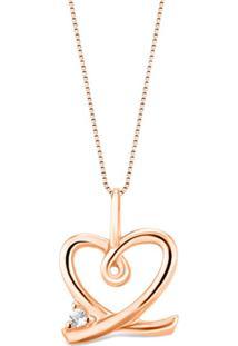 Pingente Símbolo Coração Com Laço Ouro Vivara E Topázio 13,3 Mm