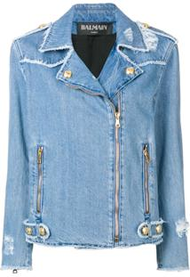 Balmain Jaqueta Jeans Destroyed - Azul