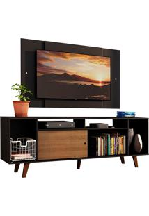 Rack Madesa Cancun E Painel Para Tv Atã© 58 Polegadas Com Pã©S - Preto/Rustic D8D8 Preto - Preto - Dafiti
