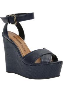 Sandália Plataforma Com Tiras- Azul Marinho- Salto: Morena Rosa