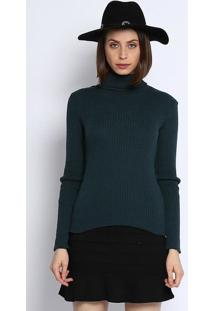 Blusa Gola Alta Em Tricã´- Verde Escuro- Ponto Aguiarponto Aguiar