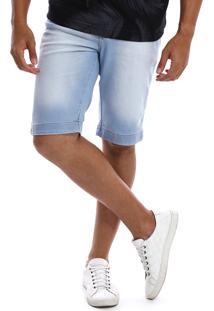 Bermuda Jeans Bamborra Denim Slim Com Lycra Azul Claro