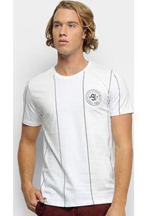 Camiseta All Free Athletic Listrada Masculina - Masculino-Branco