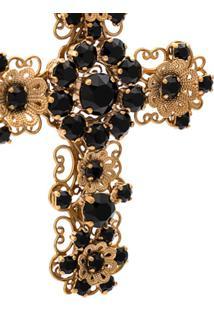 Dolce & Gabbana Par De Brincos De Cruz - Dourado