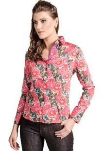 Camisa Slim Florida Carlos Brusman Feminina - Feminino-Rosa