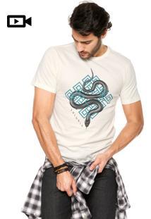 Camiseta Juice It Manga Curta Snake Trap Bege