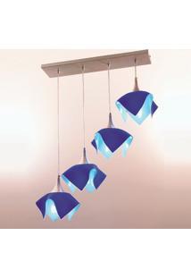 Pendente Color Trilho Com 4 Azul