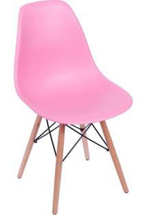 Cadeira Eames Dkr- Rosa & Marrom Claro- 80,5X46,5X42Or Design