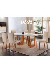 Conjunto De Mesa De Jantar Com 6 Cadeiras Talia Veludo Off White E Creme 180 Cm