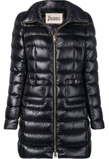 Herno Mid-Length Puffer Jacket - Preto