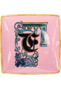 Versace Home Tigela Holiday Alphabet 'F' - Rosa