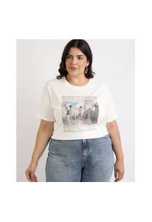 Blusa Feminina Plus Size Mulan Manga Curta Decote Redondo Off White