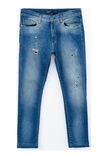 Calça Skinny Com Puídos Em Jeans