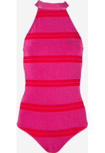Body Rosa Chá Devon Beachwear Listrado Feminino (Listrado Rosa E Vermelho, G)