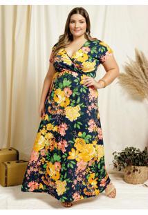 Vestido Longo Floral Azul Transpasse Plus Size