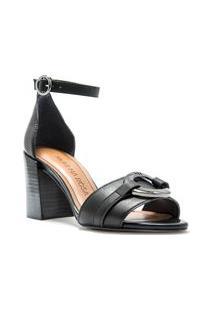 Sandalia Salto Bloco Com Detalhe Em Enfeite Personalizado Preto