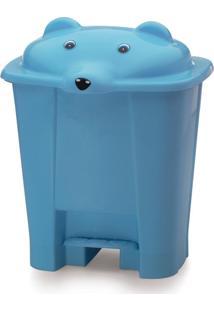 Lixeira Com Tampa De Urso E Pedal 12 Litros Yoyo Baby Azul Bebe